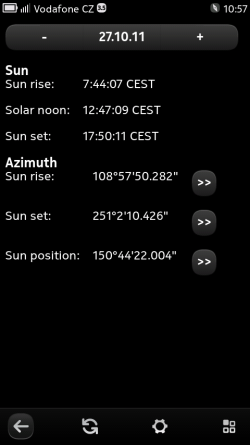 Sun information screen