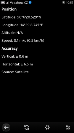 GPS details screen